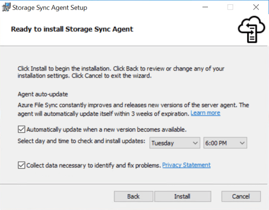 Install Azure File sync agent