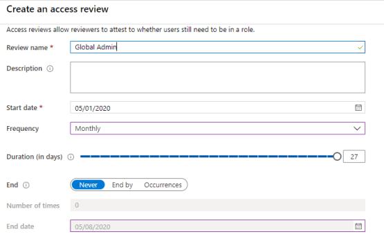 Configure Access review options