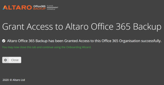 Backup O365 with Altaro - access is granted