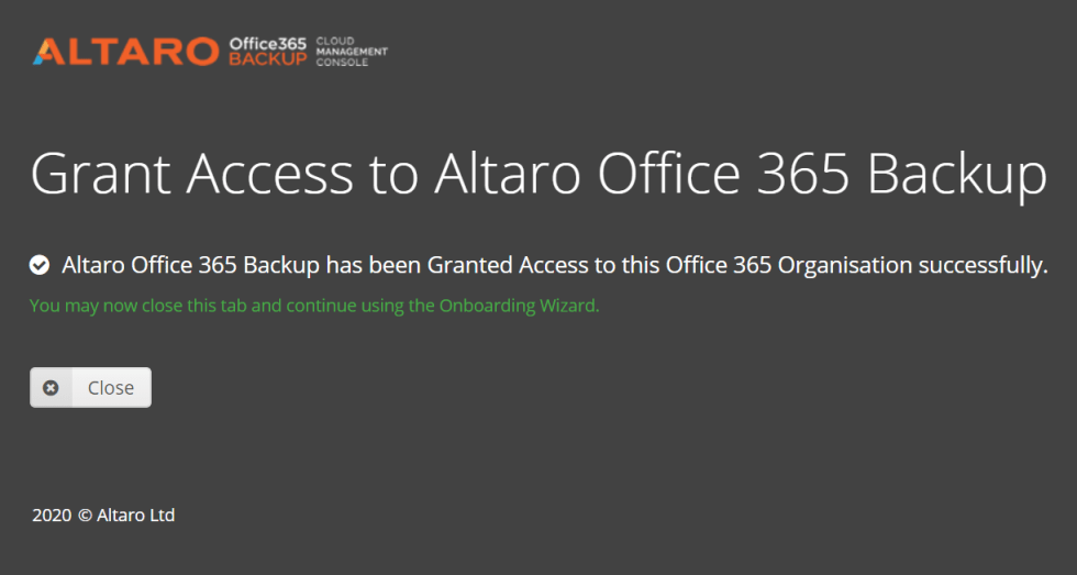 Backup O365 with Altaro - grant access for create new application