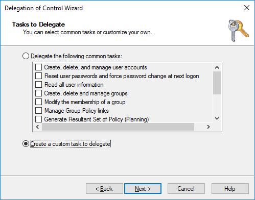 Create custom task to delegate