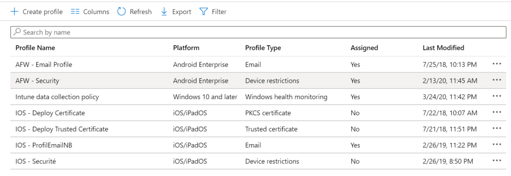 Create new policy on Intune