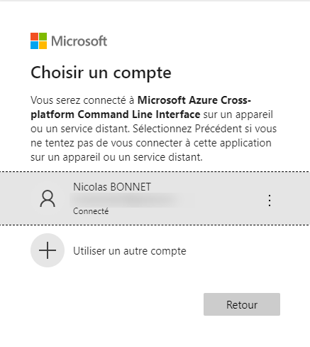 select Azure Account