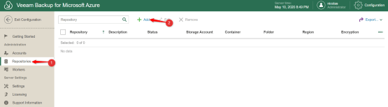 Add new repositories on Veeam Console