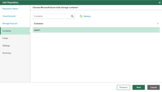 Select the desired container on Azure