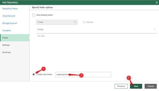 Create folder on storage accoun