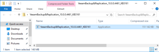 Cumulative patch 2 for Veeam - Launch the setup file