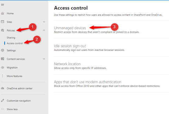 Configure Access Policies on Sharepoint for Unmanaged devices