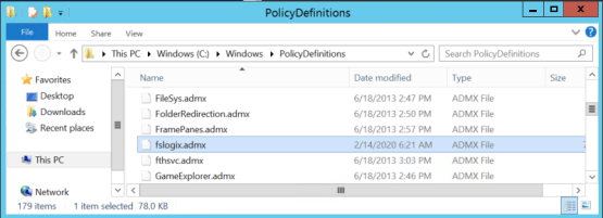 Copy ADMX and ADML file for FSLogix