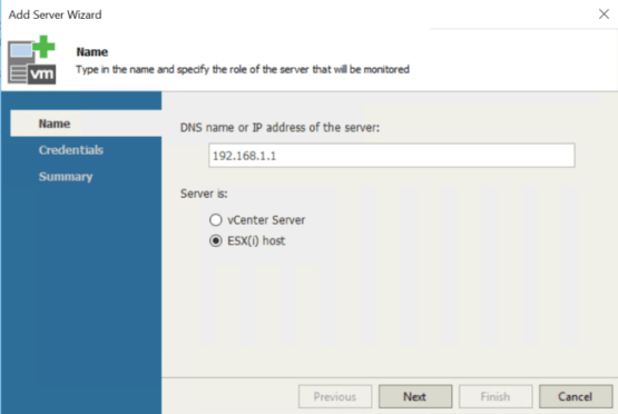 vSphere and Veeam ONE - Enter information about your ESX server