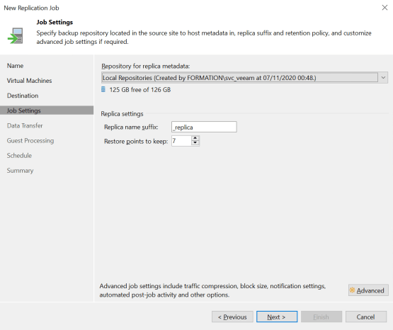 Replication with Veeam - Configure job