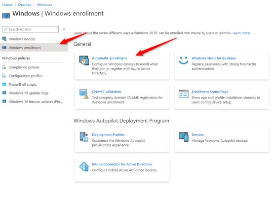 Configure Windows Enrollment