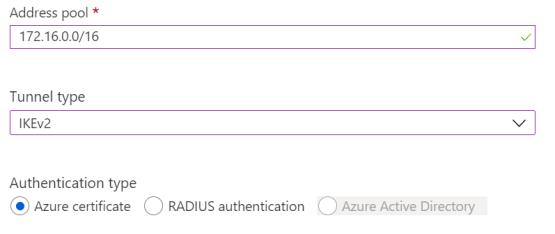 Configure Authentification on Point-to-site configuration