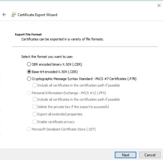 Select Base-64 certificate