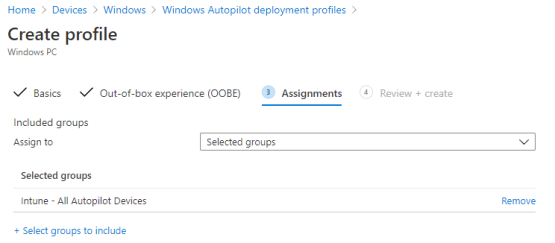 Assign profile to Azure AD Groups