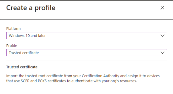 Deploy trusted certificate