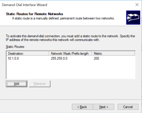 Add static routes for remote networks