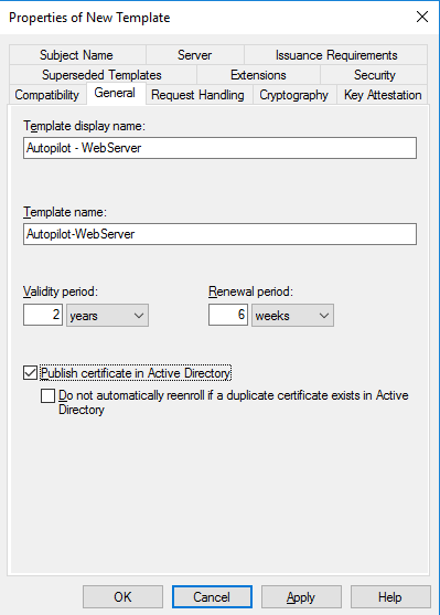Configure General tab
