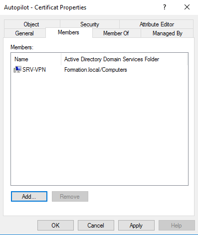 Create group for request certificate