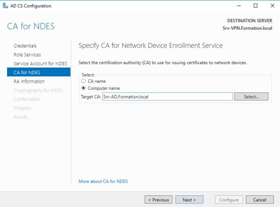 Select CA Server
