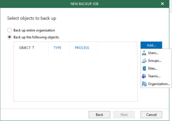 Veeam O365 v5 - Enter Name of the backup
