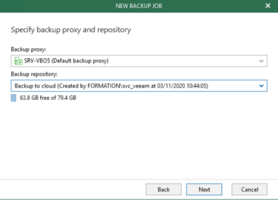 Select Backup proxy et Repository