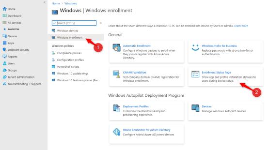 Configure Enrollment Status Page