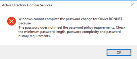 Password is deny if it's an simple password