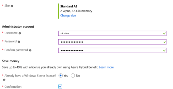Choose the size of the VM and enter the username and password. Cloud Connect for Enterprise