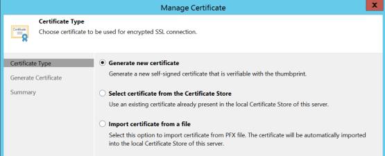 Generate new certificate