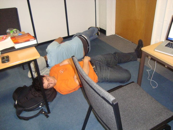 Here's one of me learning about all-nighters during exam preparation in Kilburn.