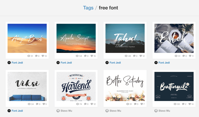 Page Dribbble polices gratuites