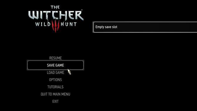 Les conseils de The Witcher 3 - Enregistrer le menu