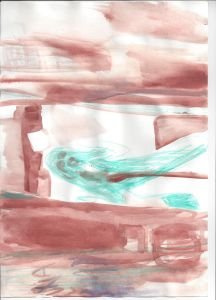 Hotel Room - 2014 - 24 x 32 cm slash 9 x 13 inches - pencil and tempera on paper