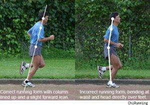 (c) chi running Postura corecta vs una incorecta