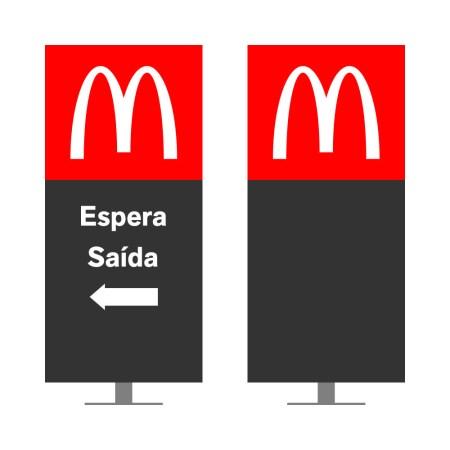 DIRECIONAL MODELO GA VAZADO - FACE 1: ESPERA SEM SETA SAÍDA SETA ESQUERDA / FACE 2: SEM TEXTO