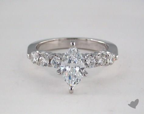 075 Carat Marquise Cut Side Stones Engagement Ring In
