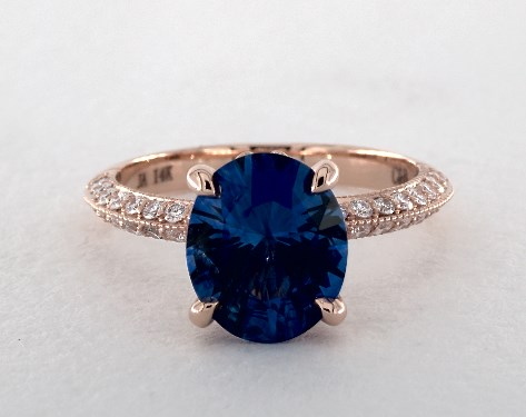 249 Carat Blue Sapphire Oval Cut Pave Engagement Ring In