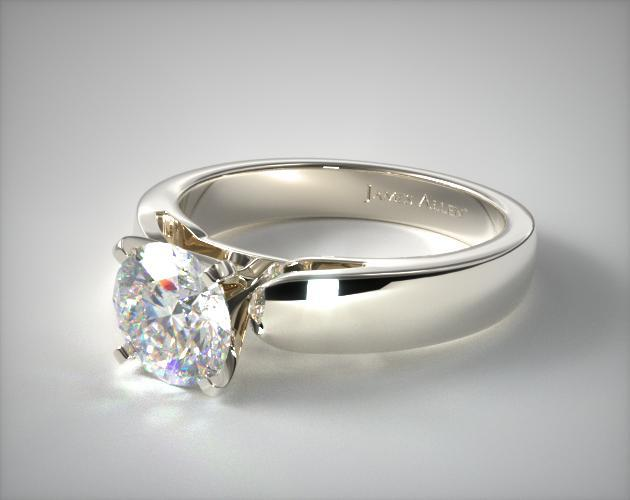 38mm Rounded Cathedral Solitaire Engagement Ring 14K