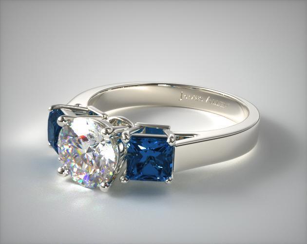 11152W14 Three Stone Princess Shaped Blue Sapphire