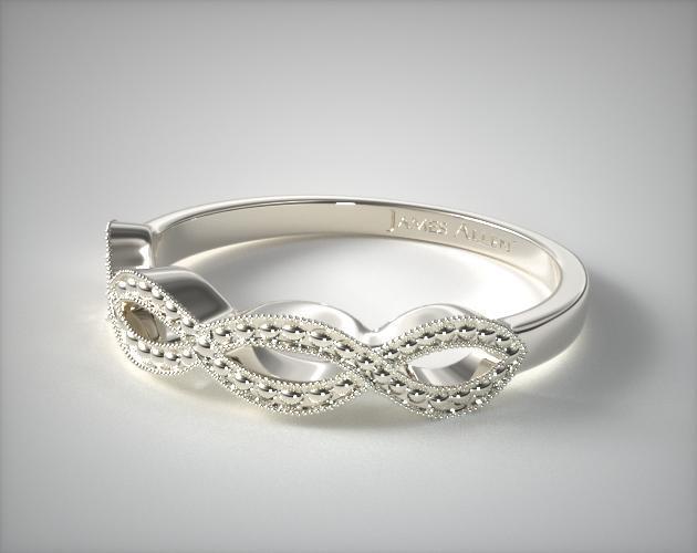 Vintage Infinity Wedding Band 14K White Gold James