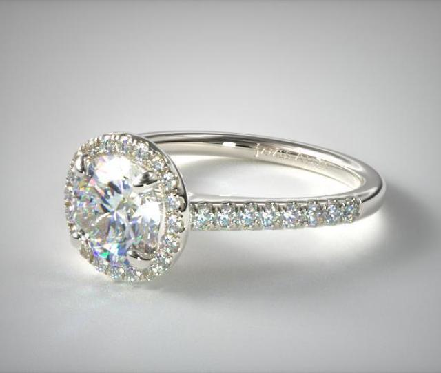 Details  C B K White Gold Pave Halo And Shank Diamond Engagement Ring Round Center   Ee    Reviews