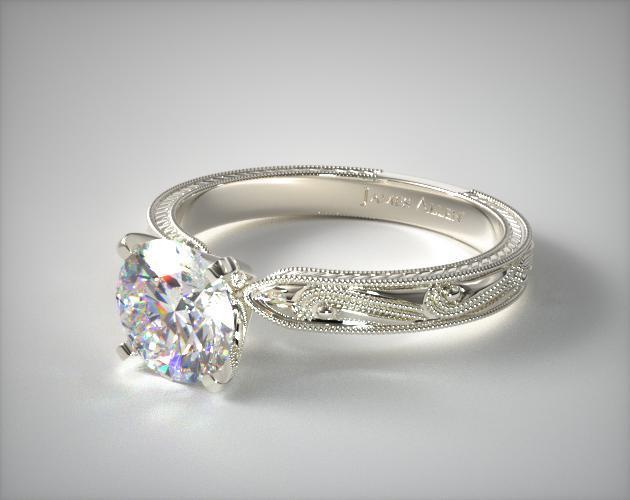 Engraved Solitaire Engagement Ring Platinum James