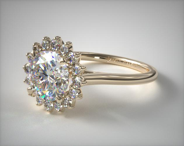 Engagement Rings Unique 14k Yellow Gold Diamond Pave