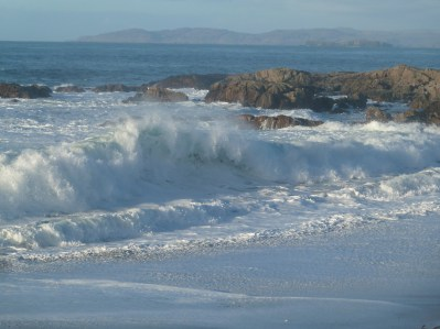 breaking evening waves