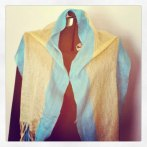 silk blue and gold lace scarf