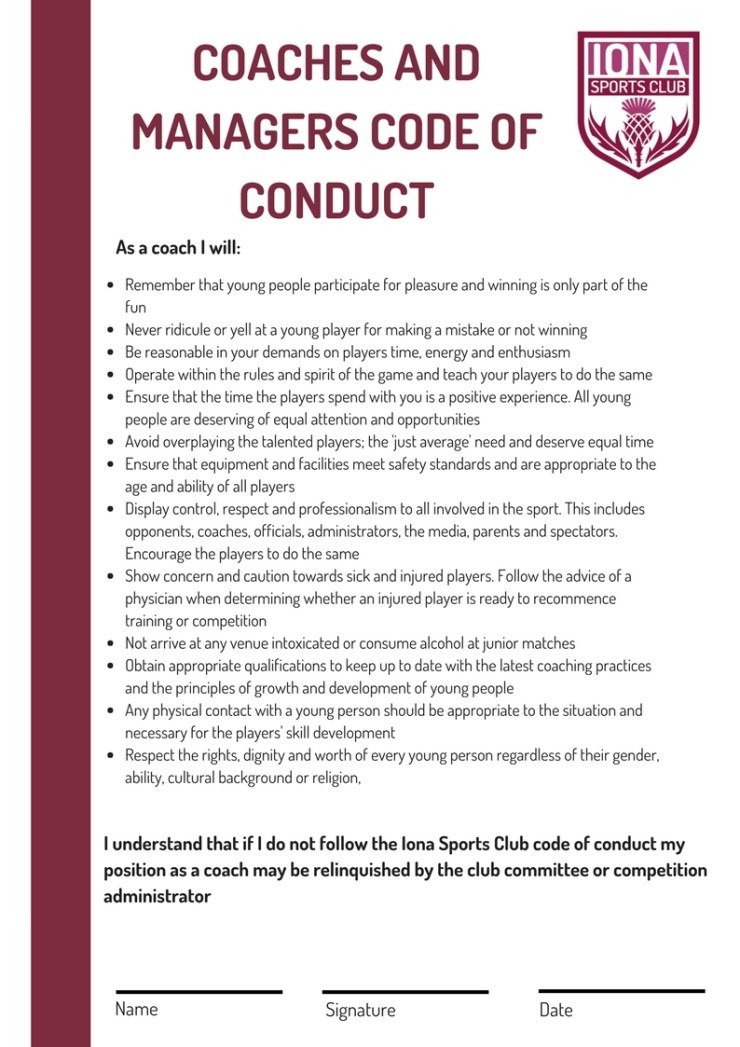 Coaches and Mangers Code of Conduct