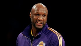 Lakers Lamar Odom is jovial during the shoot around before the start of the game against the Philad