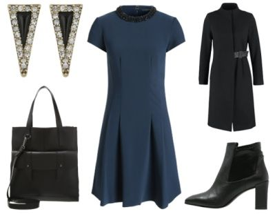 1. How To Wear Navy To Work: Navy + Edgy Black