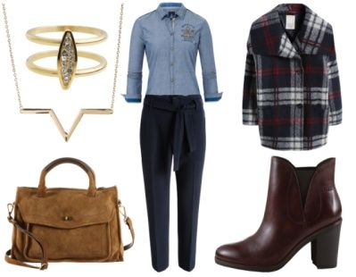 3. How To Wear Navy To Work: Navy + Preppy Bordeaux Red